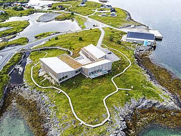 Aerial of the tourist information center, Unesco world heritage site, the Vega Archipelago, Norway, Europe
