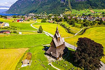 Aerial of the Hopperstad Stave Church, Vikoyri, Norway, Europe
