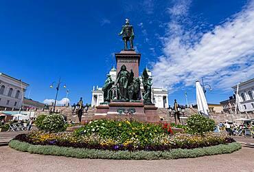 Monument on Senate square, Helsinki Cathedral, Helsinki, Finland, Europe