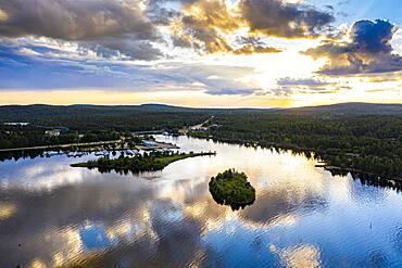 Clouds reflecting at sunset on Lake Inari, Inari, Lapland, northern Finland