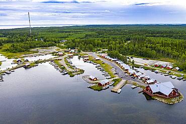 Aerial of the Unesco world heritage site Kvarken archielago, Finland, Europe