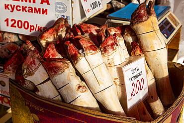 Frozen hprse huffs, Fish and meat market, Yakutsk, Sakha Republic, Russia, Europe