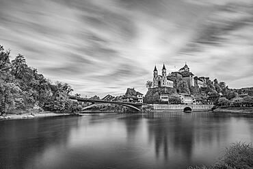 City view with river Aare (infrared image), fortress Aarburg and reformed church Aarburg, Aarburg, Zofingen, canton Aargau, Switzerland, Europe