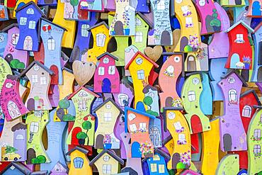Background from decorative colorful wooden houses