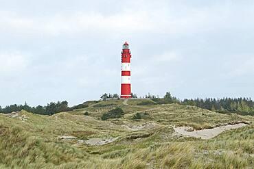 Lighthouse in dune landscape, fog, Amrum island, North Frisian Islands, Schleswig-Holstein, Germany, Europe