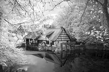 Infrared image, historical hammer mill, museum, karst source of the Blau, Blautopf in Blaubeuren, Swabian Alb, Baden-Wuerttemberg, Germany, Europe