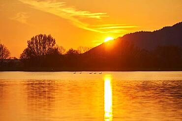 Sunset above danubi river, Upper Palatinate, Bavaria, Germany, Europe