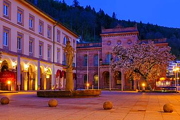 Palais Thermal, twilight at the spa square, Bad Wildbad, Northern Black Forest, Black Forest, Baden-Wuerttemberg, Germany, Europe