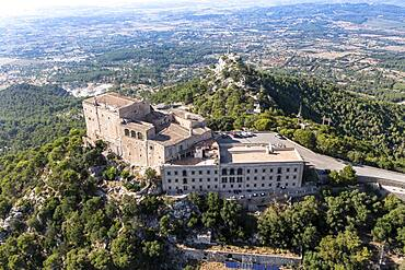 Aerial view Santuari de Sant Salvador monastery, Puig de Sant Salvador, near Felanitx, Migjorn region, Majorca, Balearic Islands, Spain, Europe
