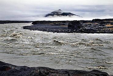 Glacier river Joekulsarlon, raging river, lava desert Krepputunga, highland road Austurleio, Asturleid, F 910, highlands, central Iceland, Iceland, Europe