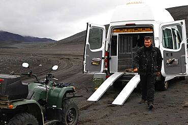 ATV is loaded into Sprinter, ATV rider, biker, quad, Yamaha Grizzly, Mercedes Sprinter camper, camper, ramps, lava desert Krepputunga, highland road Austurleio, Asturleid, F 910, highlands, central Iceland, Iceland, Europe