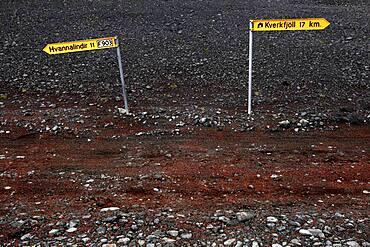 Signpost Hvannalindir and Kverkfjoell, Track, Lava desert Krepputunga, Highland track Austurleio, Asturleid, F 910, Highlands, Central Iceland, Iceland, Europe
