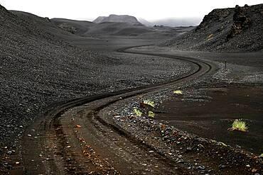 Tracks, Track, Lava desert Krepputunga, Highland track Austurleio, Asturleid, F 910, Highlands, Central Iceland, Iceland, Europe