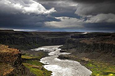 Canyon, Canyon with river, Joekulsa, Dettifoss, North Iceland, Highland, Iceland, Europe