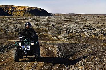 Track, ATV, Yamaha Grizzly, biker, quad rider, lava landscape, laki fissure, highlands, Iceland, Europe