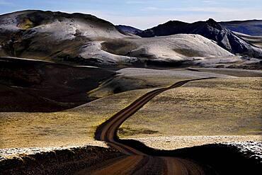 Track, Track, Lava landscape, Volcanic vent, Laki fissure, Highland, Iceland, Europe
