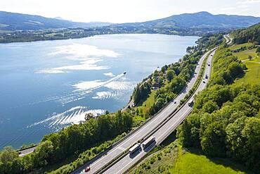 Drone image, Westautobahn (A1) near Mondsee, Salzkammergut, Upper Austria, Austria, Europe