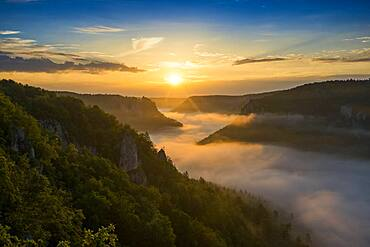 View from Eichfelsen to Werenwag Castle with morning fog, sunrise, near Irndorf, Upper Danube nature park Park, Upper Danube Valley, Danube, Swabian Alb, Baden-Wuerttemberg, Germany, Europe