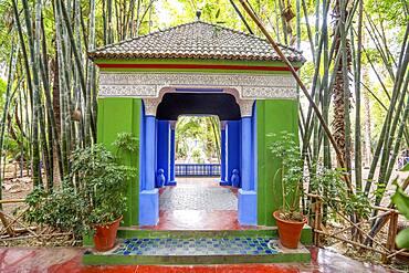 Marrakech, Morocco, January 15, 2020: Gazebo in beautiful Majorelle Garden established by Yves Saint Laurent in Marrakech, Morocco, Africa