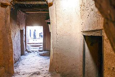 Inside kashba in clay town Ait Ben Haddou, UNESCO heritage site in Morocco