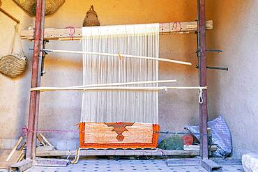 Weaving loom with Berber carpet, Ait Ben Haddou, Morocco, Africa