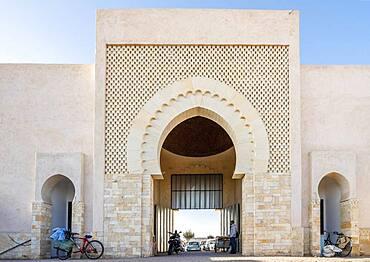 Modern entrance to traditional open air Agadir market, Morocco, Africa