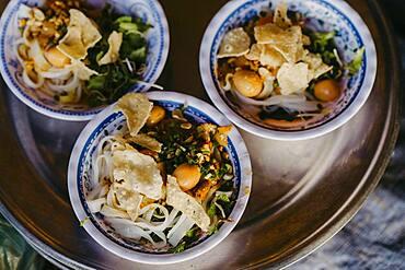 Vietnamese food in bowls, street food, Vietnam, Asia
