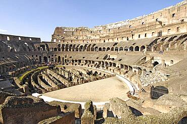 Grandstands and partially restored arena, stage in interior of Colosseum, Rome, Lazio, Italy, Europe