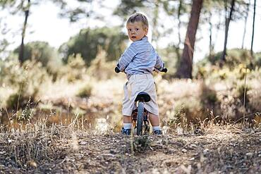 Cute toddler on bicycle looking back as waiting for the rest
