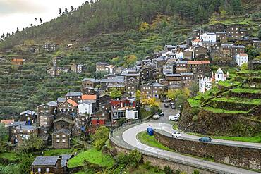 Amazing old village with schist houses, called Piodao in Serra da Estrela, Portugal, Europe