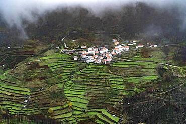 Small village with terraced fields in Serra da Estrela mountains, Portugal, Europe