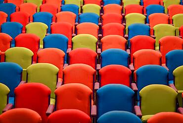 Assortment of colorful seats in a row