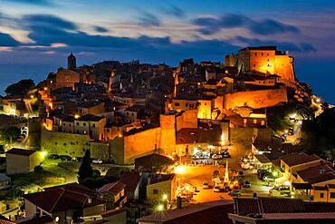 Twilight over medieval village Giglio Castello, Giglio Island, Tuscany, Italy, Europe