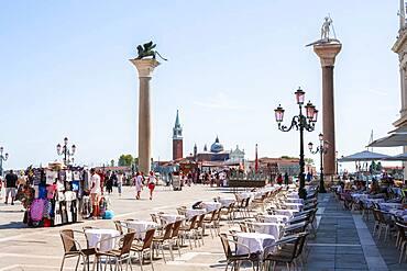 Columns with Marcus Lion, St. Mark's Square Restaurant, Venice, Veneto, Italy, Europe