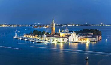 Isola di San Giorgio Maggiore with church San Giorgio Maggiore in the evening, Venice, Veneto, Italy, Europe
