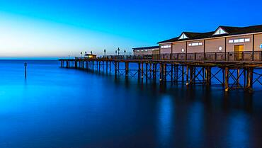 Blue Hour in long time exposure of Grand Pier, Teignmouth, Devon, England, United Kingdom, Europe