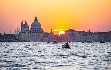 Evening atmosphere at the lagoon of Venice, Basilica Santa Maria della Salute, Venice, Veneto, Italy, Europe