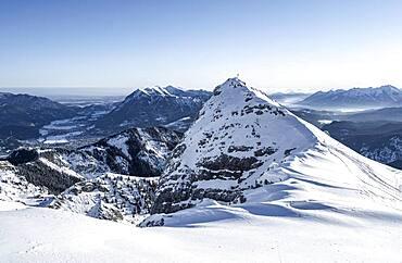 Bernadeinkopf, view over the Wetterstein mountains with snow in winter, Garmisch-Partenkirchen, Bavaria, Germany, Europe