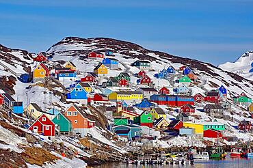 Colourful wooden houses, winter, Kangaamuit, Greenland, Denmark, North America