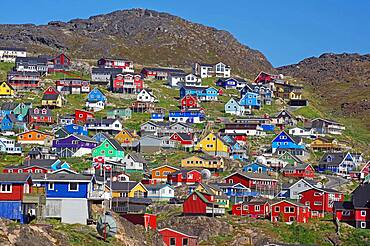 Wooden houses in different bright colours, Qaqortoq, Kujalleq, Greenland, Denmark, North America