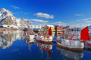 Fishing boats in harbour, snowy mountains, Svolvaer, Lofoten, Nordland, Norway, Europe