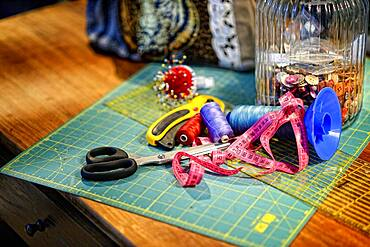 Tailor workshop, yarn, scissors, Germany, Europe