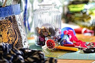 Tailor's workshop, yarn, scissors, needles, buttons, tape measure, Germany, Europe