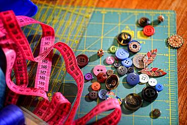 Tailor's workshop, thread, scissors, buttons, tape measure, Germany, Europe