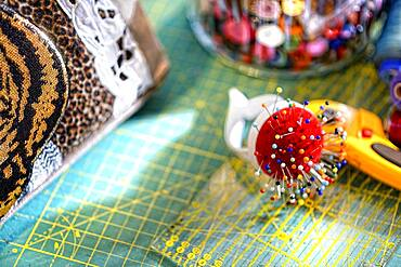 Tailor's workshop, thread, scissors, buttons, tape measure, pincushion, Germany, Europe