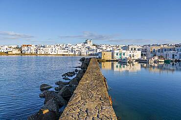 Harbour wall of the port town of Naoussa, Paros Island, Cyclades, Greece, Europe