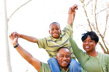 African american family having fun in the park