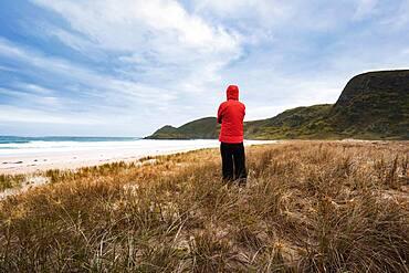 Guy at the beach, Spirits Bay, Piwhane, Aupouri Peninsula, North Island, New Zealand, Oceania