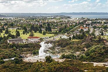 Geothermal area, Redwoods Forest, Whakarewarewa, Rotorua, North Island, New Zealand, Oceania
