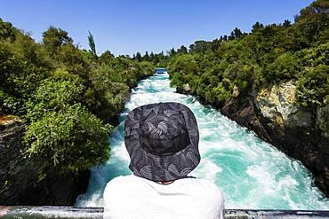 Guy at Huka Falls, Waikato River, Waikato, North Island, New Zealand, Oceania